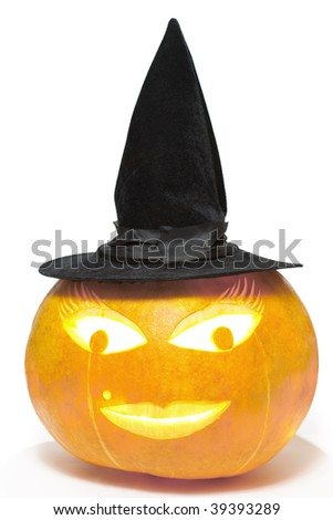 Pumpkin witch on white background. Clipping path included.