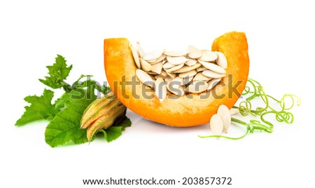 Pumpkin with pumpkin seeds isolated on white background