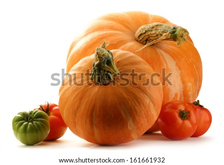 Pumpkins and tomatoes on white background - stock photo