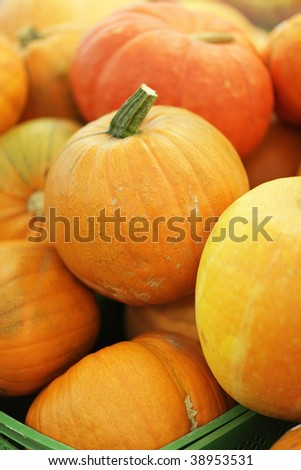 Pumpkins in supermarket.