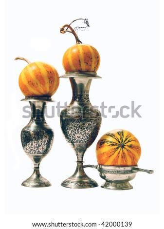 pumpkins in vase - stock photo