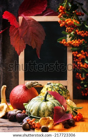 Pumpkins, nuts, berries and mushrooms chanterelle with empty chalkboard over old wooden table. See series