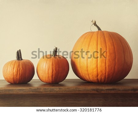 Pumpkins on a table for Halloween