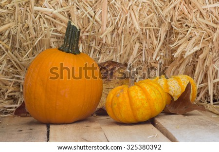 Pumpkins on wood floor with straw background