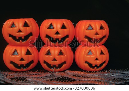 Pumpkins stacked on each other
