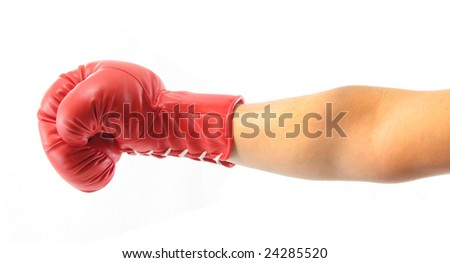 Punch red boxing glove - stock photo