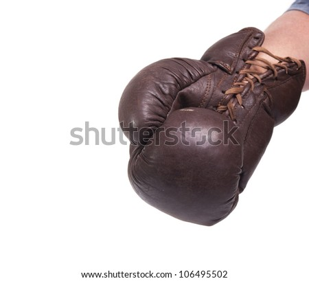 Punch with a vintage boxing glove