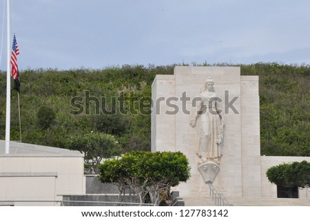 Punchbowl National Cemetery in Honolulu, Hawaii - stock photo