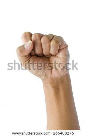punching fist on white background - stock photo