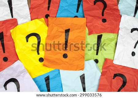 punctuation marks on sheet of paper - stock photo