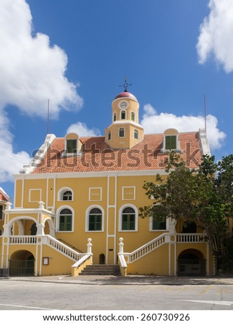Punda  waterfront Curacao a tropical island in the Caribbean - Netherland Antilles - stock photo