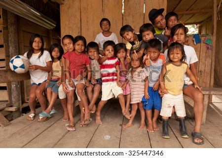 Puni Bocana, Ecuador - 23 November 2012: Group Of Local Kids From Puni Bocana Village  In Puni Bocana On November 23, 2012