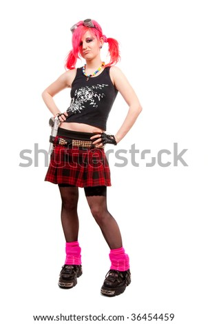 Punk girl portrait in studio isolated over white background - stock photo