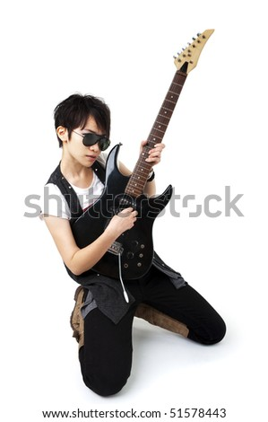 Punk Rockstar holding a guitar isolated in white - stock photo
