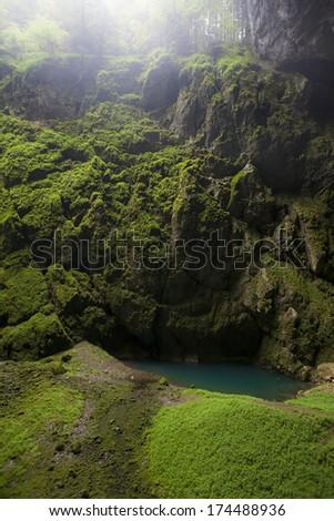 Punkva in Macocha, Punkevni cave, Blansko, Czech Republic - stock photo