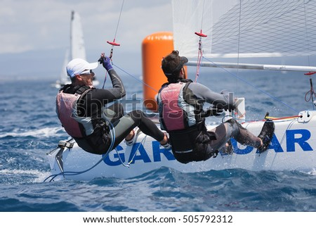PUNTA ALA - 3 JUNE: athlete sailing on Formula 18 national catamaran race, on June 3 2016 in Punta Ala, Italy
