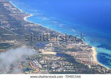 Punta Cana tropical resorts, aerial view - stock photo