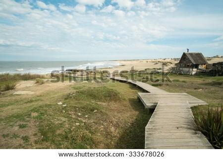 Punta del Diablo beach resort on Uruguays east coast - stock photo