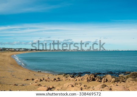 Punta del Este bay and beach with its skyline in the background - stock photo