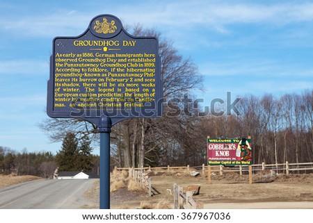 PUNXSUTAWNEY, PA - MARCH 29: Signage at Gobblers Knob on March 29, 2015 in Punxsutawney, PA. The sign marks the annual Groundhog Day celebration held on February 2nd. - stock photo