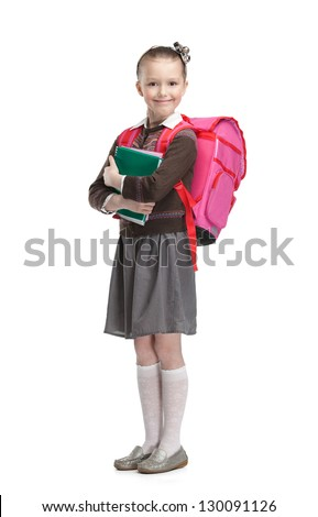 Pupil with suitcase and exercisebooks is ready to go to school, isolated, white background