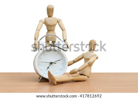 puppet doll and clock ,isolate white background - stock photo