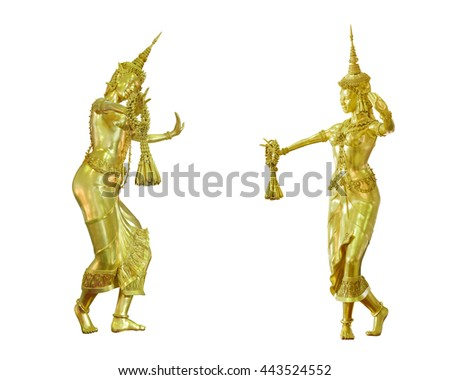 Puppet girl Thai dancing bronze brass isolated on white background. This has clipping path.