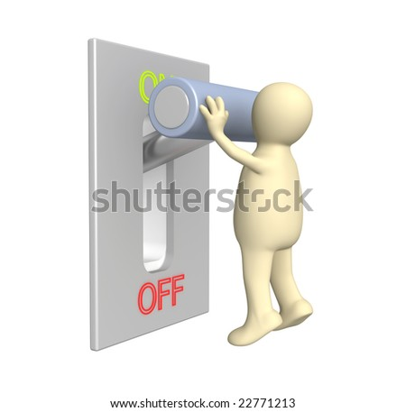 Puppet, turned lever on position on - stock photo