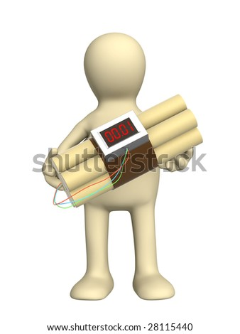 Puppet with a bomb in hands - stock photo