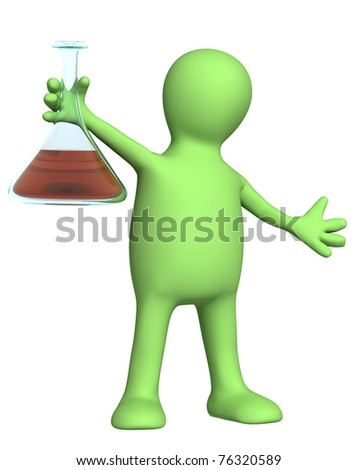 Puppet with chemical reagent. Isolated over white