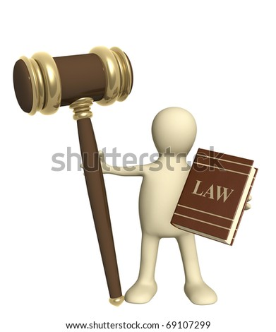 Puppet with code of laws. Isolated over white - stock photo