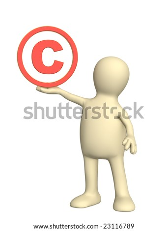 Puppet with copyright symbol - stock photo