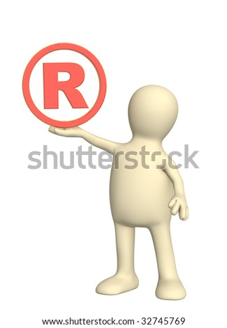 Puppet with registered symbol - over white - stock photo