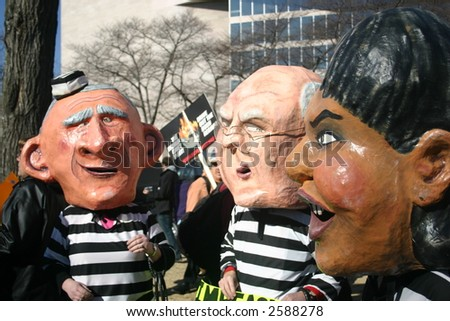 Puppets of Bush, Cheney, Rice in mock trial at anti war rally on the National Mall, Washington, DC, Saturday, January 27, 2007. - stock photo