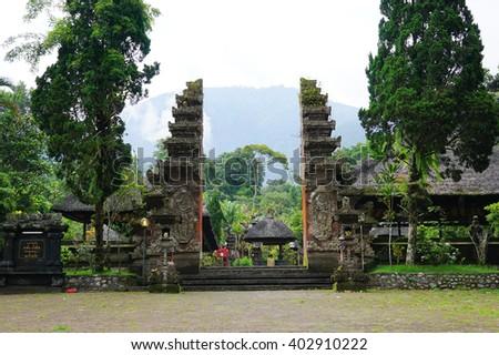 Pura Luhur Batukau Batukaru Hindu temple in Tabanan, Bali, Indonesia. Located on the southern slope of Mount Batukaru, Tabanan, Bali Indonesia. - stock photo