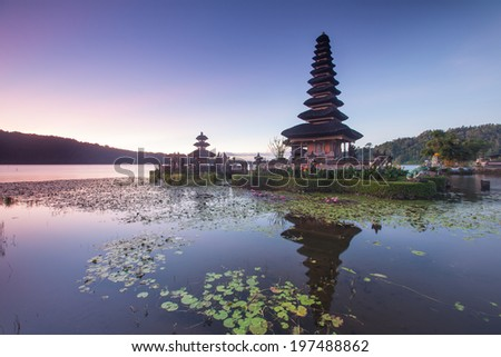 Pura Ulun Danu Hindu temple at morning with sunset  in Bali Indonesia - stock photo