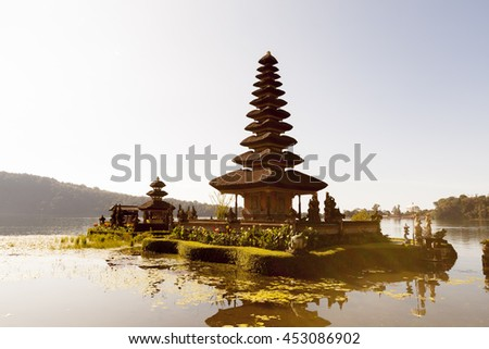 Pura Ulun Danu temple, Beratan Lake,Bali, Indonesia - stock photo