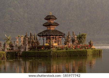 Pura Ulun Danu temple on a lake Beratan. Bali - stock photo