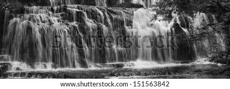 Purakanai Falls panorama waterfall in New Zealand. - stock photo
