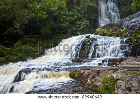Purakaunui Waterfall. Catlins Forest Park, South Island, New Zealand. - stock photo
