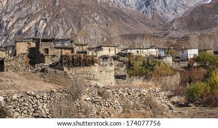 PURANG, NEPAL - CIRCA NOVEMBER 2013: view of the village Purang around Muktinath circa November 2013 in Purang. - stock photo