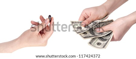 purchase and sale of drugs isolated on a white background