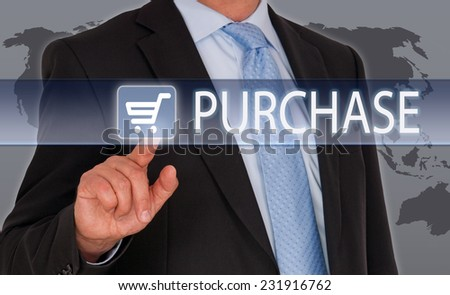 Purchase - Businessman with touchscreen - stock photo