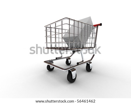 Purchase in the shopping cart isolated on white background. High quality 3d render. - stock photo