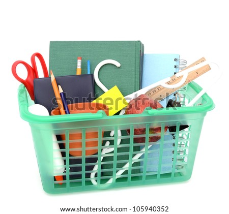 Purchase of school supplies in school back - stock photo
