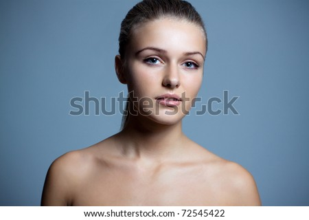 Pure beautiful woman naked with health skin. Close-up - stock photo