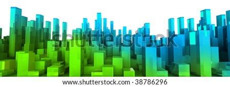 Pure blocks structure isolated on white background - stock photo