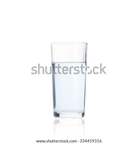 Pure drink water in glass, closeup on white background