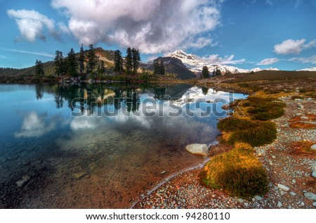 Pure reflection in a shallow mountain lake British Columbia Canada - stock photo