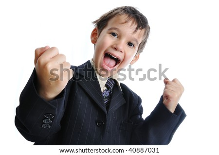 Pure success on kid's face, great gesture - stock photo